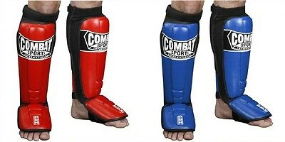 Combat Sports MMA Shin Guards Sparring Instep Kickboxing Muay Thai Red Blue L XL