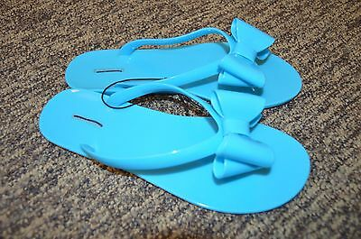 2310ee092306 Express Brand Jelly Bow Front Pool Blue Flats Flat Sandals Flip Flops Flop 7
