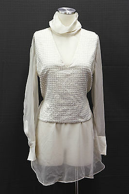 .NWT $2220 Brunello Cucinelli Womens 100%Silk 2Pc Blouse + Satin Sequin Top Sz M