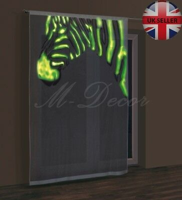 """GLOW IN THE DARK or black/white net curtain panel """"ZEBRA"""" ready to hang"""