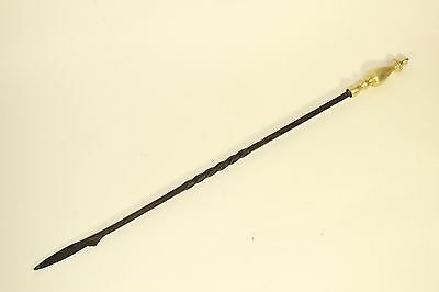 "Antique Gilt Bronze & Twisted Wrought Iron Fireplace Poker Fire 38"" Stoker Tool"
