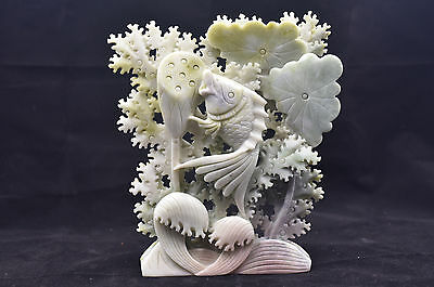 Exquisite Chinese carved Lotus and Kim Fish Design natural Dushan jade 1781g