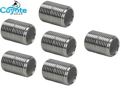 "6 Pack Lot 1/2"" NPT X CLOSE 316 Stainless Steel Pipe Nipple Coyote Gear SS S/40"