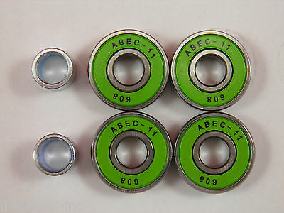 4 x ABEC 11 SCOOTER SKATEBOARD BEARINGS *NEW* GREEN SHIELDS