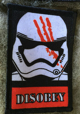 Star Wars Disobey Stormtrooper Morale Tactical Military Army Hook Flag Badge USA