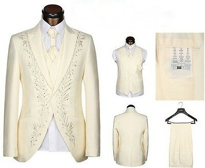 Dark Ivory Embroidery Wedding Groom Tuxedos Business Formal Best Man Suit Custom