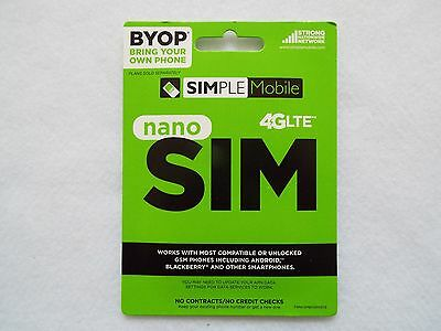 SIMPLE Mobile Nano SIM Card for $40/30Days Plan NEW Activation + 2 Month Service
