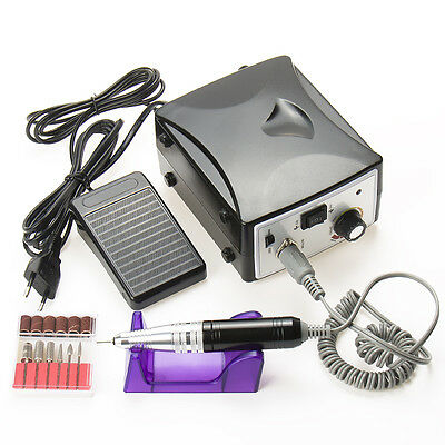 Turbo Electric Nail Drill File With Attachments and Sand Bands Black