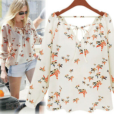 Fashion Women Summer Blouse Chiffon Casual Long Sleeve Floral White Tops T-Shirt