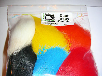 6 PIECE DEER BELLY HAIR COMBO from Hareline  fly tying