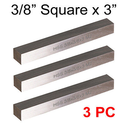 "3 PC HSS Tool Bits 3/8"" Square 3"" Long, M2 High Speed Steel Fully Gound"