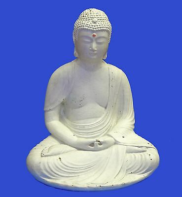 "Vintage Large 13"" Ceramic Buddha Siddhartha Lotus Figure Figurine Statue Chinese"