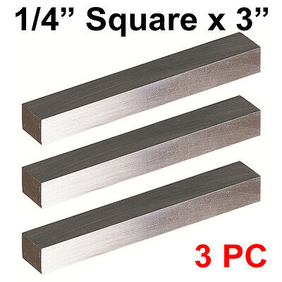 """3 PC HSS Tool Bits 1/4"""" Square 3"""" Long, M2 High Speed Steel Fully Gound"""