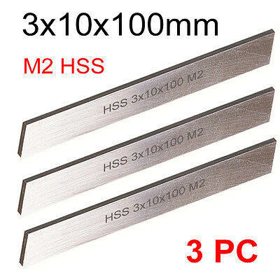 3 PC HSS Parting Off Blade 3x10x100mm M2 High Speed Steel Fully Gound Tool Bits