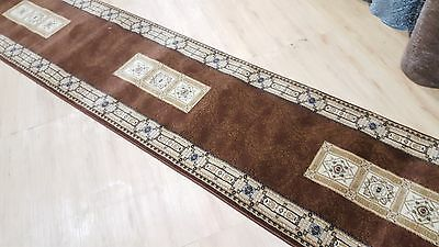 Brown Traditional Hallway Runner 80cm Width, Assorted Lengths - Turkish Made
