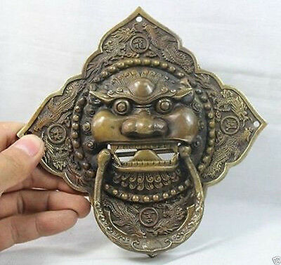 China Chinese Folk Home Copper Fu Foo Dog Lion Head Door knocker Statue #457