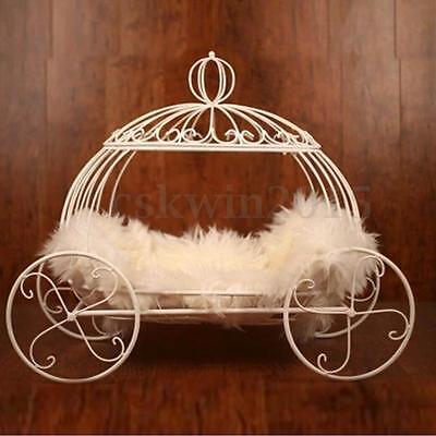 White Photography Photo Prop Iron Pumpkin Carriage Basket Bed for Newborn Baby