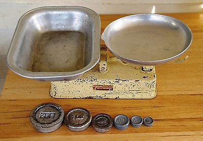 Fairway Kitchen Scales, trays and weights, made in Melb. Vintage retro