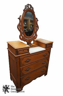 Antique 19th C. Oak Vanity Dresser Victorian Eastlake Marble Swivel Mirror Rare