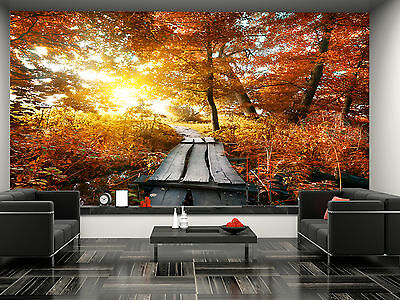 Autumn and Bridge Wall Mural Photo Wallpaper GIANT DECOR Paper Poster Free Paste