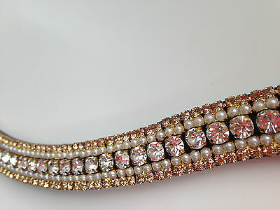 Brown leather bling brow band Sparkly gold gems and pearls