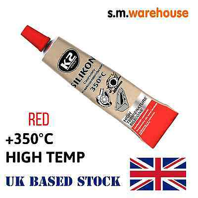 K2 SILICONE HIGH TEMPERATURE 350° HEAT RESISTANT SEALANT ADHESIVE GLUE RED 21g