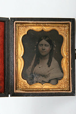 Antique ninth Plate Ambrotype Of Young Lady In Embossed Leather Case