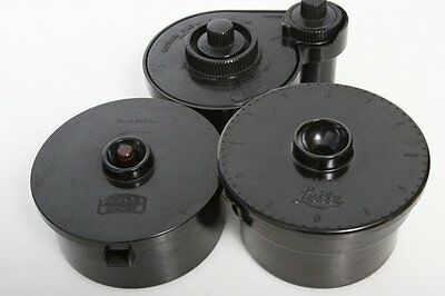 Three Vintage 35mm film Developing Tanks: Leica, Zeiss and Kodak