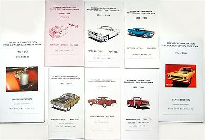 Mopar, Dodge, Plymouth Part, Casting & Code Numbers - All 8 Books  Galen Govier