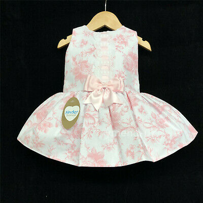 *SS18* Stunning Baby Girls Pink Spanish Rose Print Drop Waist Dress/Pink/Blue