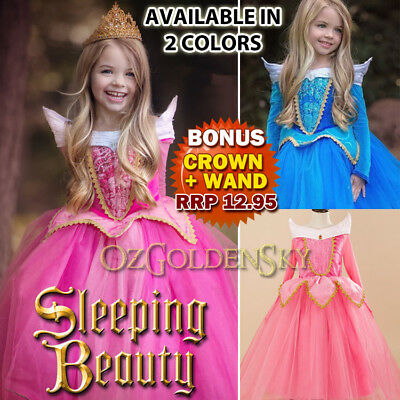 Girls Princess Sleeping Beauty Aurora Costumes Dress Up Tutu Ball Gown 3-10Y