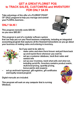 GET A FLORIST POS to TRACK SALES, CUSTOMERS and INVENTORY FOR ONLY $4.95