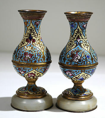 French Champlevé & Gilt Bronze Pair of Enamel Vases Onyx Base Circa 1880's