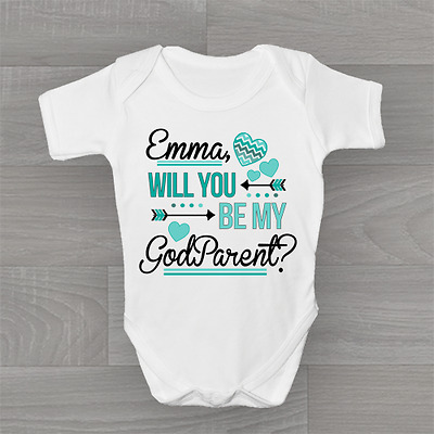 Personalised Will You Be My Godparent? Cute Baby Grow Body Suit Vest Unisex