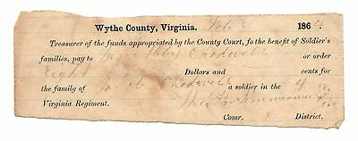1864 Wythe County $8 Virginia Confederate Benefits Document for Family Chadwell