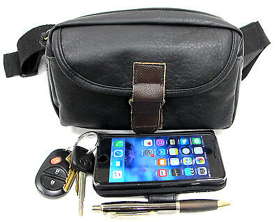 Unisex PU Washed Leather Waist Bag Fanny Pack for iPhone Passport Travel Outdoor