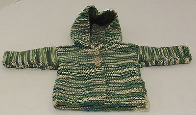 New Hand Knitted Baby Sweater with Hood Size Newborn to Six Months