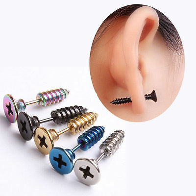 2 Pcs Unisex Women Men Chic Punk Stainless Steel Screw Ear Studs Earrings