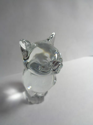 SIGNED DAUM FRANCE SITTING CAT Clear Crystal Glass Figure ornament.(ref33.5)