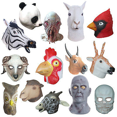 Cosplay Halloween Animal Head Mask Latex Animal ZOO Party Costume Prop Toys