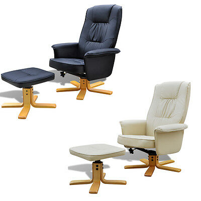 New Black / White Artificial Leather TV Armchair with Foot Stool Adjustable