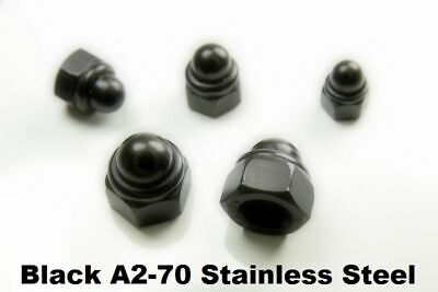 A2-70 BLACK Stainless Steel Domed Nyloc Nuts Nylon Insert Nylock Dome Nut DIN986