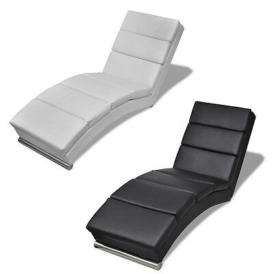 New Black/White Artificial Leather Chaise Longue Relaxing Chair High-quality