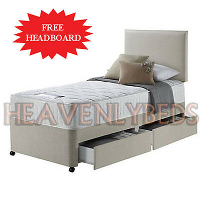 Single divan bed with mattress picclick uk for Cheap single divan with drawers
