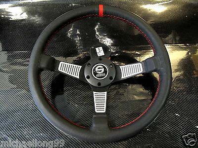 350mm Universal Leather Low Dish Steering Wheel OMP SPARCO MOMO Drift Rally