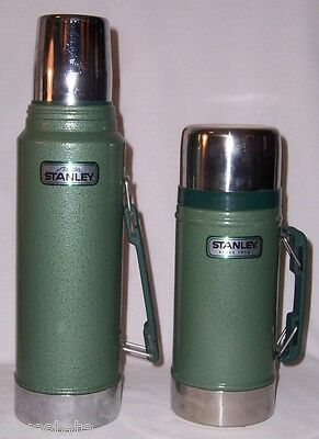 Lot of 2 Aladdin Stanley Green Metal Thermos A-944DH Quart & 24 oz Wide Mouth