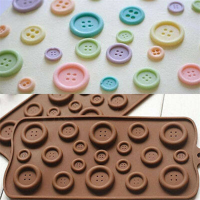 3D Buttons Silicone Fondant Mould Chocolate Sugarcraft Cake Mold Baking Tool DIY