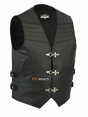 Biker Leather Waistcoat Real Cowhide  Black Side Buckles Fish Hook Buttons Vest