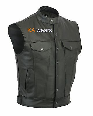Mens Son OF Anarchy Motorcycle Biker Real Leather Waistcoat Vest Jacket Pockets