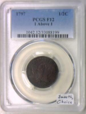 1797 1 Above 1 Half Cent PCGS F-12; Smooth, Choice!